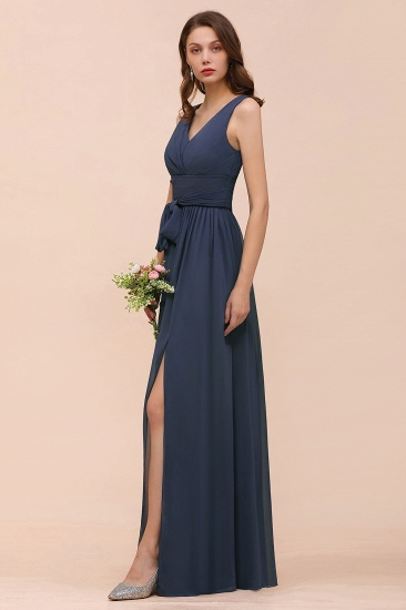 Affordable V-Neck Chiffon Long Stormy Bridesmaid Dress With Slit_9