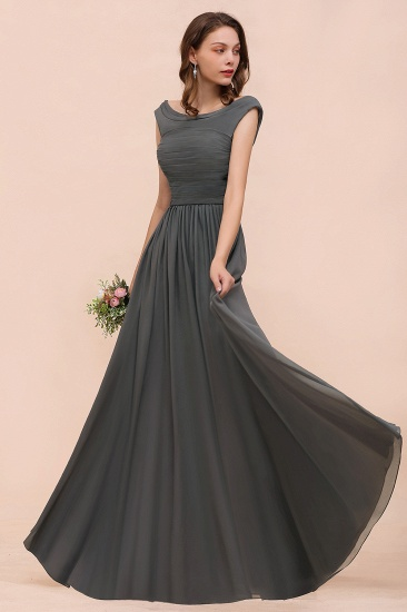 Steel Grey Off The Shoulder Ruffle Bridesmaid Dress with Slit_4