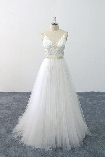 BMbridal Chic Spaghetti Strap Appliques Tulle Wedding Dress On Sale_1
