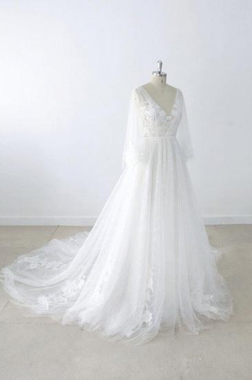 BMbridal Long Sleeve V-neck Appliques Tulle Wedding Dress On Sale_4