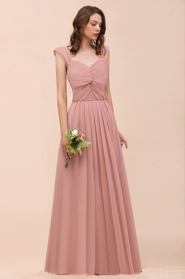 Vintage Mauve Chiffon Straps Ruffle Affordable Bridesmaid Dress_7