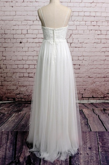 BMbridal Empire Spaghetti Strap Lace Tulle Wedding Dress On Sale_3