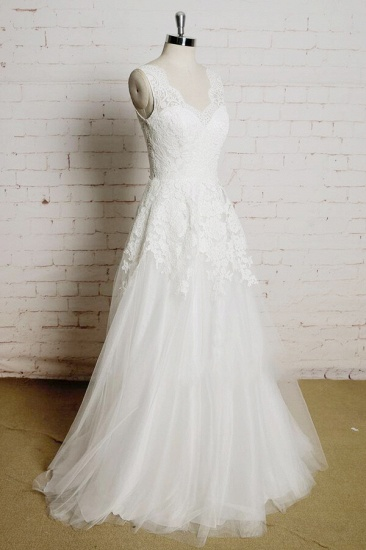 BMbridal Chic V-neck Appliques Tulle A-line Wedding Dress On Sale_1
