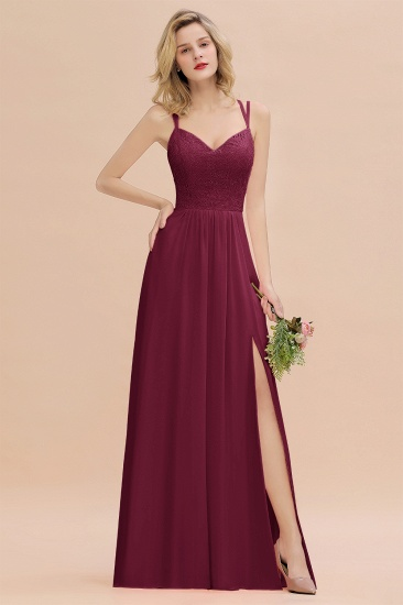 BMbridal Sexy Spaghetti-Straps Coral Lace Bridesmaid Dresses with Slit_44
