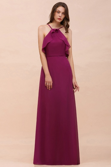 Stylish Spaghetti Straps Mulberry Chiffon Bridesmaid Dress with Ruffles_1