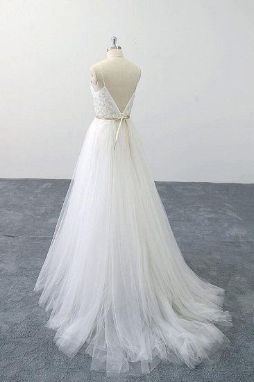 BMbridal Chic Spaghetti Strap Appliques Tulle Wedding Dress On Sale_6