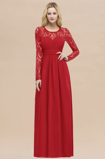 BMbridal Elegant Lace Burgundy Bridesmaid Dresses Online with Long Sleeves_8
