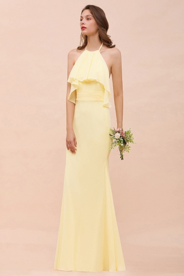 BMbridal Gorgeous Daffodil Mermaid Halter Ruffle Bridesmaid Dress_6