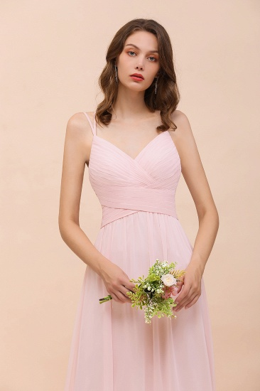 Gorgeous Chiffon Ruffle Blushing Pink Bridesmaid Dress with Spaghetti Straps_9