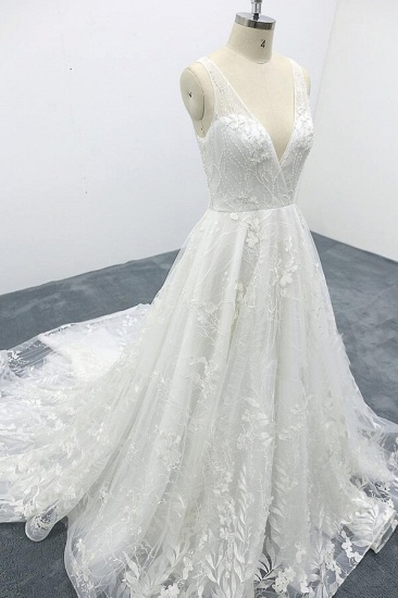 BMbridal Elegant V-neck Appliques Tulle A-line Wedding Dress On Sale_6