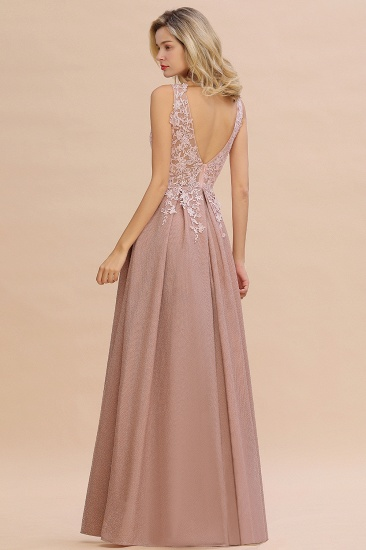 Dusty Pink V-Neck Long Prom Dress With Lace Appliques Online_14