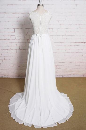 BMbridal Lace Chiffon A-line Court Train Wedding Dress On Sale_3
