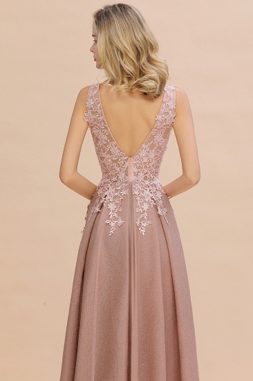 Dusty Pink V-Neck Long Prom Dress With Lace Appliques Online_12