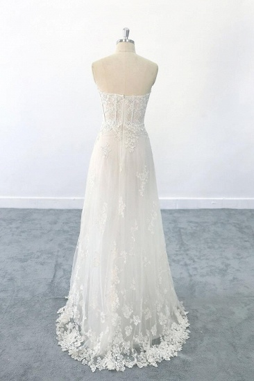 BMbridal Appliques Strapless Tulle Sheath Wedding Dress On Sale_3