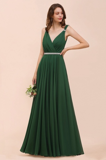 BMbridal Gorgeous Chiffon V Neck Ruffle Bridesmaid Dress with Beading Sash