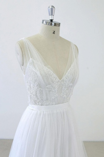BMbridal V-neck Ruffle Applqiues Tulle A-line Wedding Dress On Sale_6