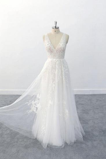 BMbridal Elegant V-neck Appliques Tulle A-line Wedding Dress On Sale_5
