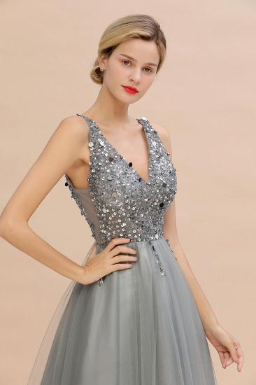 BMbridal Glamorous V-Neck Sleeveless Prom Dress Long Tulle Evening Gowns With Crystals_14