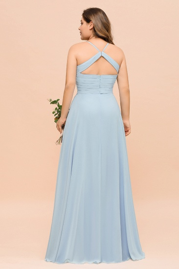 Plus Size V-Neck Ruffle Chiffon Sky Blue Bridesmaid Dresses Online_3
