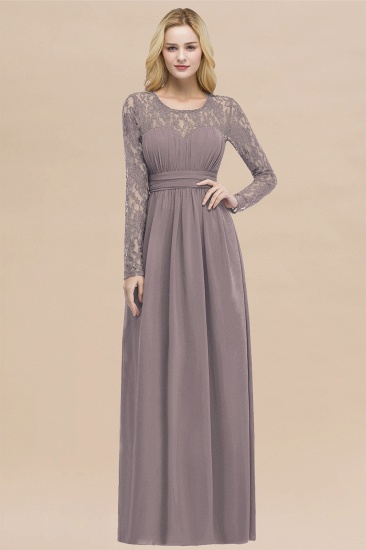 BMbridal Elegant Lace Burgundy Bridesmaid Dresses Online with Long Sleeves_37