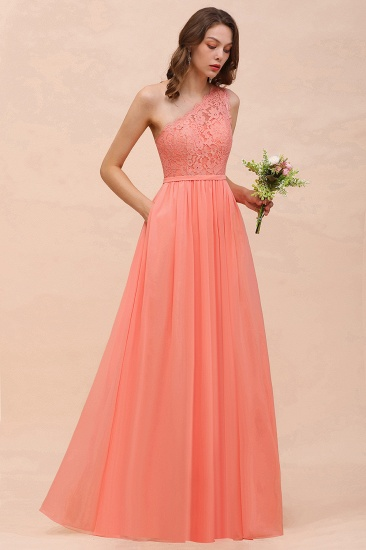 Gorgeous One Shoulder Slit Coral Chiffon Bridesmaid Dresses with Lace_7