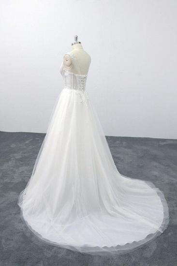 BMbridal Lace-up V-neck Appliques Tulle A-line Wedding Dress On Sale_4