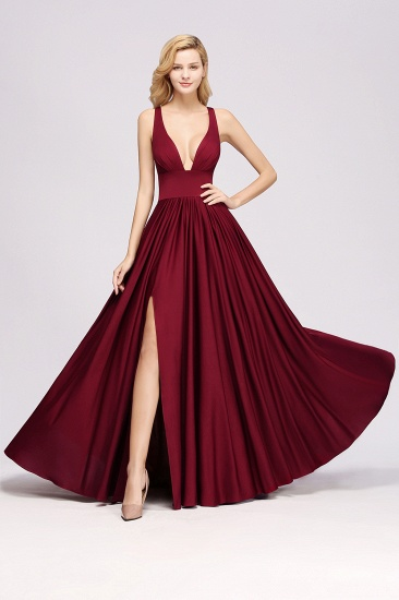Sexy Deep V-Neck Sleeveless Bridesmaid Dress Burgundy Chiffon Wedding Party Dress_34
