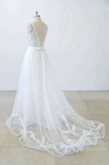 BMbridal V-neck Ruffle Applqiues Tulle A-line Wedding Dress On Sale_4