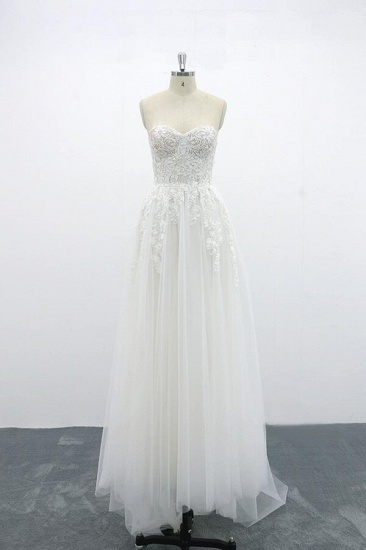 BMbridal Appliques Strapless Tulle A-line Wedding Dress On Sale_4