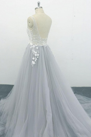 BMbridal Square Neck Appliques Tulle A-line Wedding Dress On Sale_5