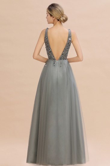 BMbridal Glamorous V-Neck Sleeveless Prom Dress Long Tulle Evening Gowns With Crystals_8