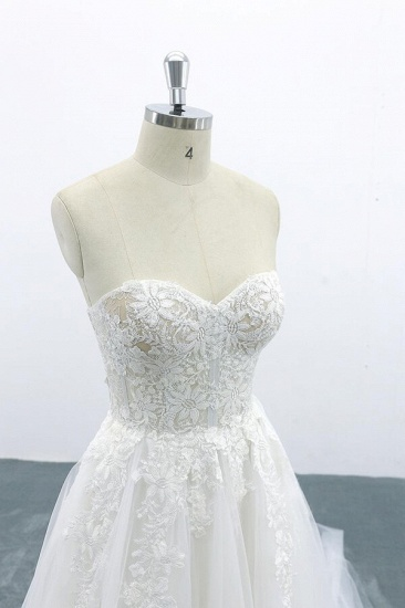 BMbridal Appliques Strapless Tulle A-line Wedding Dress On Sale_7