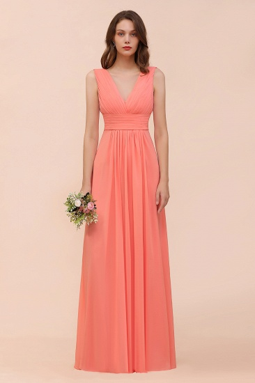 BMbridal Elegant V-Neck Ruffle Coral Chiffon Affordable Bridesmaid Dresses Online_4