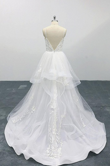 BMbridal Best Appliques Spaghetti Strap Tulle Wedding Dress On Sale_3
