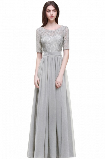 BMbridal Half-Sleeve Lace Long Chiffon Evening Dress_8