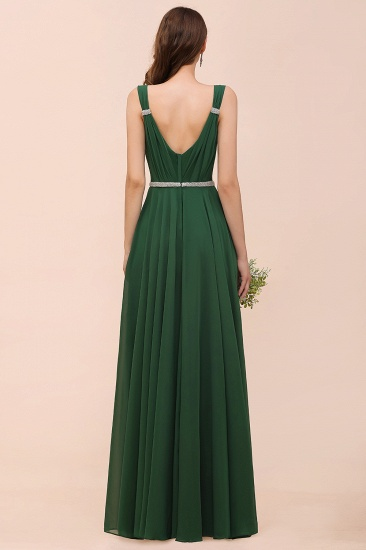 Gorgeous Chiffon V Neck Ruffle Bridesmaid Dress with Beading Sash_3