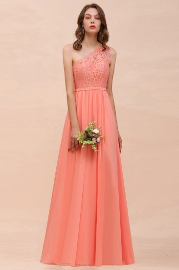 Gorgeous One Shoulder Slit Coral Chiffon Bridesmaid Dresses with Lace_6