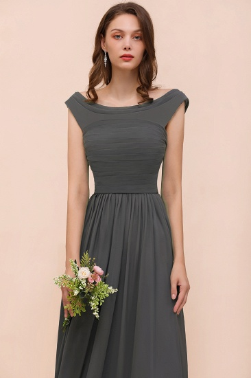 Steel Grey Off The Shoulder Ruffle Bridesmaid Dress with Slit_8