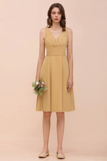 BMbridal Affordable V-Neck Ruffle Gold Short Bridesmaid Dresses with Bow_5