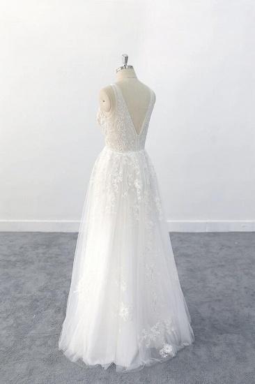 BMbridal Elegant V-neck Appliques Tulle A-line Wedding Dress On Sale_6