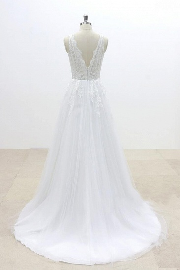 BMbridal Ruffle V-neck Appliques Tulle A-line Wedding Dress On Sale_3
