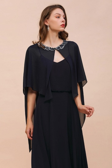 BMbridal Dark Navy Chiffon Special Occasions Wrap_7