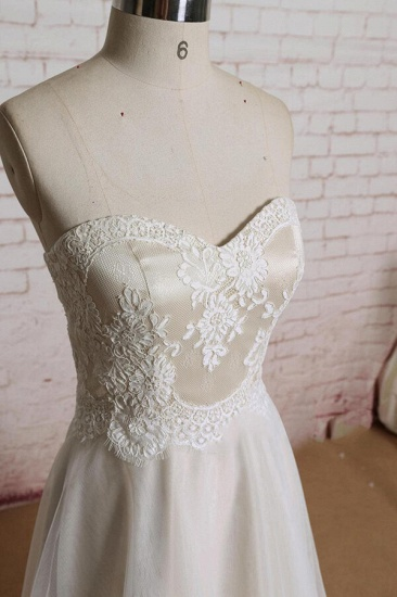 BMbridal Awesome Strapless Lace Tulle A-line Wedding Dress On Sale_4