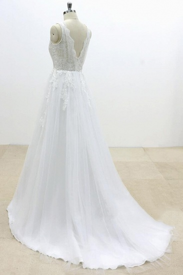 BMbridal Ruffle V-neck Appliques Tulle A-line Wedding Dress On Sale_5