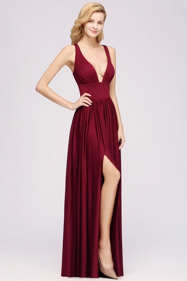 Sexy Deep V-Neck Sleeveless Bridesmaid Dress Burgundy Chiffon Wedding Party Dress_36