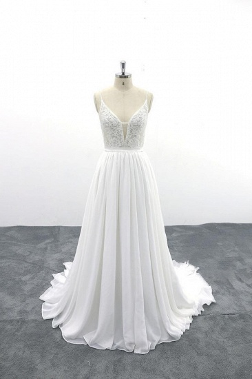 BMbridal Spaghetti Strap Lace Chiffon A-line Wedding Dress On Sale_1