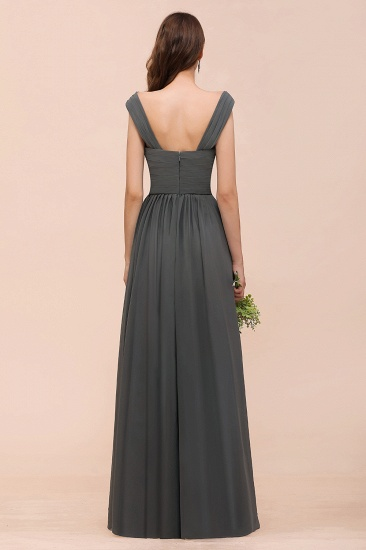 Steel Grey Off The Shoulder Ruffle Bridesmaid Dress with Slit_3
