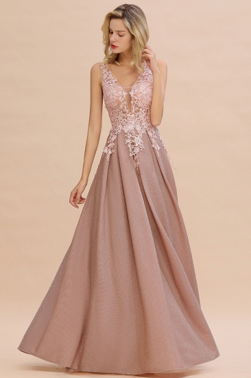 Dusty Pink V-Neck Long Prom Dress With Lace Appliques Online_7