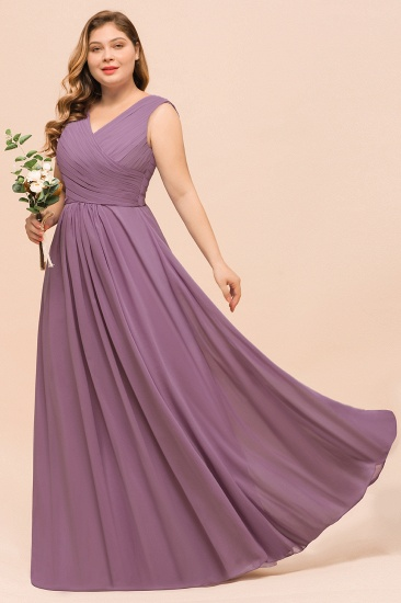 Elegant Wisteria Sleeveless Ruffle Plus size Bridesmaid Dress_5
