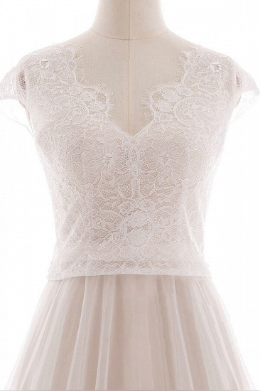 BMbridal Graceful V-neck Lace Tulle A-line Wedding Dress On Sale_6
